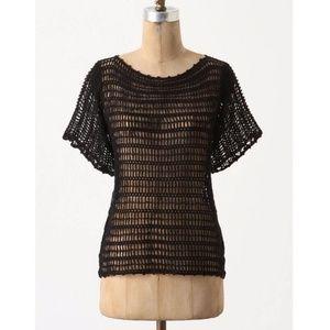 [Anthropologie] Black Breezed Crochet Top #N02